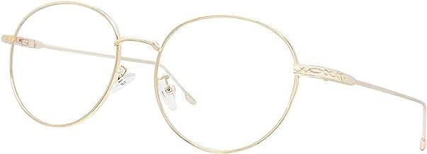 Blue Light Blocking Glasses Retro Round Metal Glasses Filter UV Glare Computer Game Glasses [Anti Eyestrain, Reduce Headache & Better Sleep] (Gold)