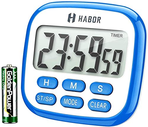HABOR Kitchen Timer, 2 IN 1 Timer and Clock, 24-Hour Oven Timer and Clock for Kitchen with Loud Ring, Large LCD Display and Countdown Countup Function, Retractable Stand and Hook and Magnetic Backing