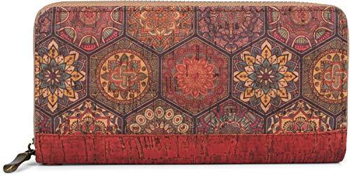 styleBREAKER Damen Geldbörse aus Kork mit Buntem Muster Print im Ethno Look, Reißverschluss, Portemonnaie 02040138, Farbe:Rot-Violett-Gelb