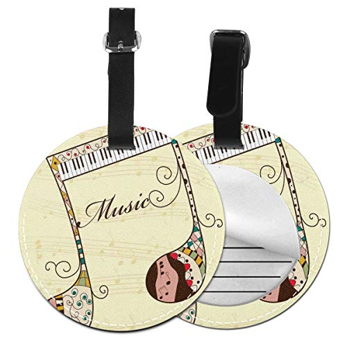 Round Travel Luggage Tags,Ornamental Piano Keyboard with Various Ethnic Patterns Classic Melody Rhythm Graphic,Leather Baggage Tag