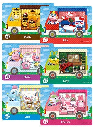 6Pcs RV Villager Furniture for Animal Crossing New Horizons ACNH Amiibo Sanrio Mini Card, Compatible with Switch/Switch Lite/New 3DS (Small Card:1.25x0.85x0.05IN)