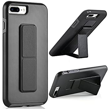 iPhone 8 Plus Case iPhone 7 Plus Case ZVEdeng Hand Strap Vertical and Horizontal Stand Magnetic Kickstand Dual Layer Drop Protection Case for iPhone 7 Plus / 8 Plus 5.5   Black and Grey