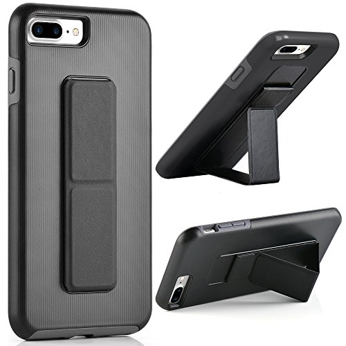 iPhone 8 Plus Case, iPhone 7 Plus Case, ZVEdeng Hand Strap Vertical and Horizontal Stand Magnetic Kickstand Dual Layer Drop Protection Case for iPhone 7 Plus / 8 Plus 5.5'' Black and Grey