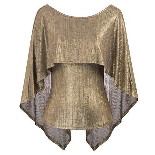 Women's Sexy Irregular Drape Cape Blouse Tops Golden Size M CL875-1