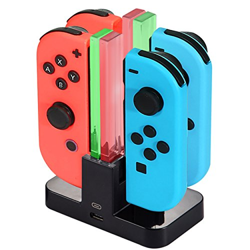 Diyife Base de Carga para Switch, 4 en 1 Cargador del Controlador para Nintendo Switch, Estación de Carga de Controlador con Puerto USB-C, Indicador LED