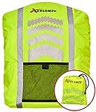 Xcelenze – Premium Rucksack Regenschutz 100% wasserdicht | Regenschutz Schulranzen Neon Gelb mit Reflektoren für eine bessere Sichtbarkeit bei Dämmerung und Dunkelheit