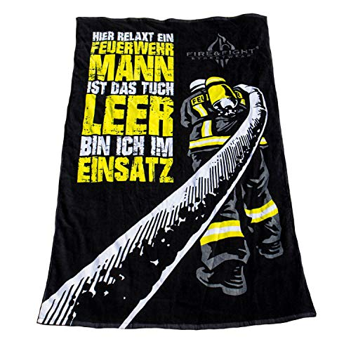 FIRE & FIGHT Streetwear Hier RELAXT EIN FEUERWEHRMANN   kuscheliges Oversize Frottee Sauna Strand- und Badetuch 175 x 100 cm