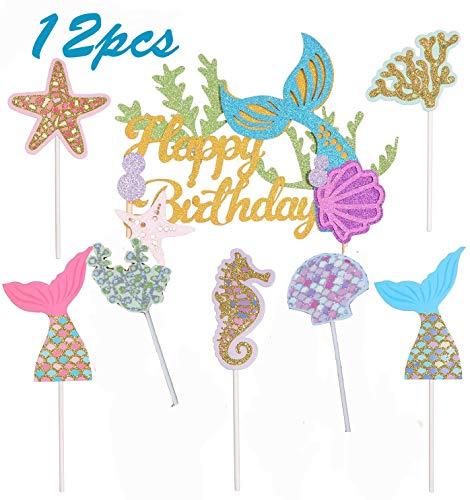 BESTZY 12PCS Cupcake Topper Meerjungfrauen Dekorations Set Glitzer Meerjungfrau Shark Party Happy Birthday für Sea Party Kuchen Dekoration Geburtstagsfeier Babyparty und Hochzeitsfeier Lieferungen