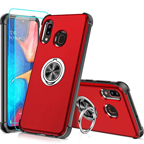 Samsung A20 Case, Samsung Galaxy A20 Case with 2 Tempered Glass Screen Protector, LeYi Military-Grade Shockproof Built-in Ring Holder Car Mount Protective Case for A20, Red