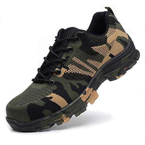 TICCOON Work Safety Shoes Puncture Proofed Footwear Steel Toe Shoes Men,Safety Shoes for Men and Women