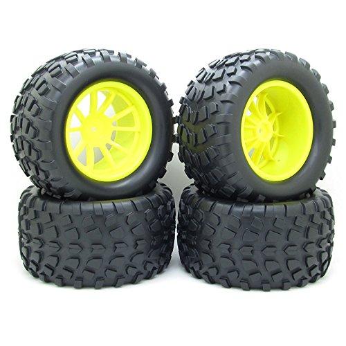 4X RC 1/10 Scale Car Monster Truck Type Tires Gravel Tread w/ 5 Spokes Wheel Rim Yellow RC Parts