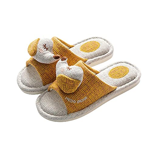 Patrón de cachorro de dibujos animados Zapatillas de lino de algodón mudo Zapatillas de interior ultraligeras planas lavables de fondo suave con suela antideslizante,amarillo,37-38