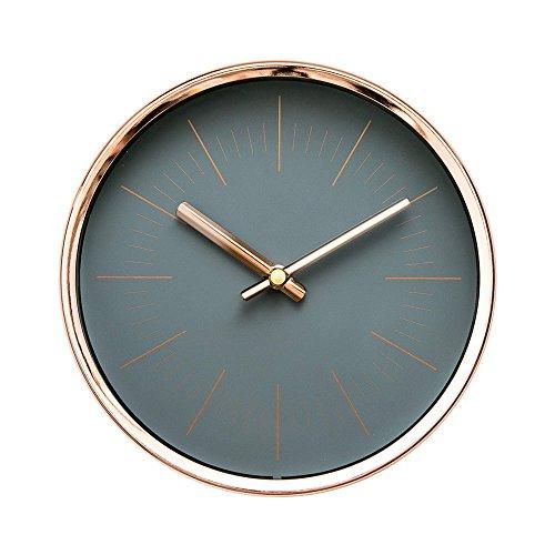 "Arospa modern design scandinavian 6"" silent non-ticking sweep movement desktop clock, table clock, wall clock with rose gold frame (sleek gray)"