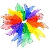 Einsgut Tanz Tücher 12 Stücke Weiche Künstliche Seide Schals Helle Farben Schal Zaubertrick Leistung Requisiten Quadratisch 23,62 * 23,62 zoll