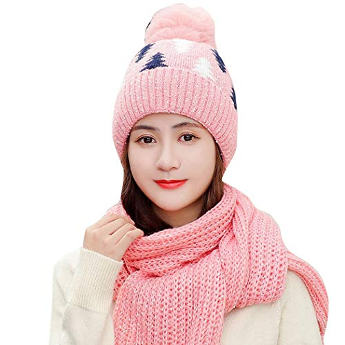 Tamkyo Mode Neu Winter Thick Warm Frauen Gestrickt Hand Gefertigten Schal Retro L?Ssig Rosa PlüSch L?Tzchen Niedlich Schal Rosa