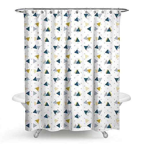 DQGZYF Geometrisches Dreieck Sternendruck Duschvorhang Polyester wasserdicht & schimmeldicht Badezimmer Badewanne dekorative Trennwand Vorhang mit 12 Haken 150 * 180cm
