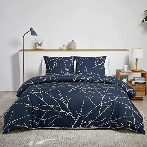 BEDSURE Bettwäsche 135x200 Baumwolle Navy Blau/Beige - Bettbezug Set mit schickem Zweige Muster, 2 teilig weiche Bettbezüge mit Reißverschluss und 1 mal 80x80cm Kissenbezug
