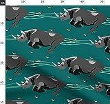 Nashorn, Nashörner, Afrika, Laufen Stoffe - Individuell