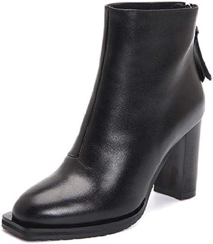 Bottines en Cuir pour Femmes,en Cuir Haut De Gamme Noir Talon Haut Bottes Courtes Bottes épaisses avec Une épaisseur Tête voiturerée avec Courtes Bottes Femmes Chaussures Bottes Nu Unique