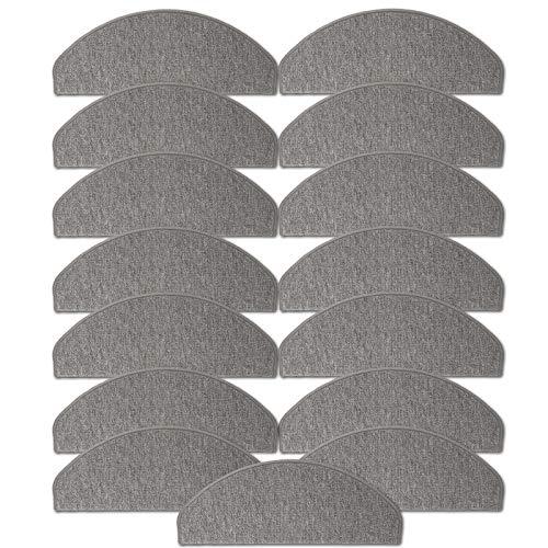 JEMIDI Stufenmatten Treppenmatten 64cm x 24cm mit geketteltem Rand und starker Befestigung (Hellgrau, 15)