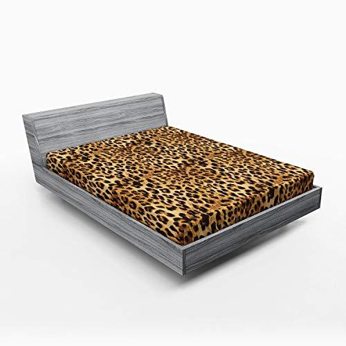ABAKUHAUS marrón Sábana Elastizada, Estampado de Leopardo, Suave Tela Decorativa Estampada Elástico en el Borde, 160 x 200 cm, marrón