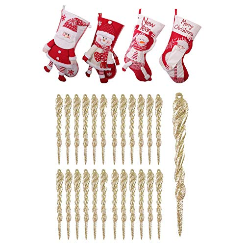 SODIAL 4 Pcs Christmas Stockings & 25 Pcs Icicle Ornaments Christmas Tree Decorations