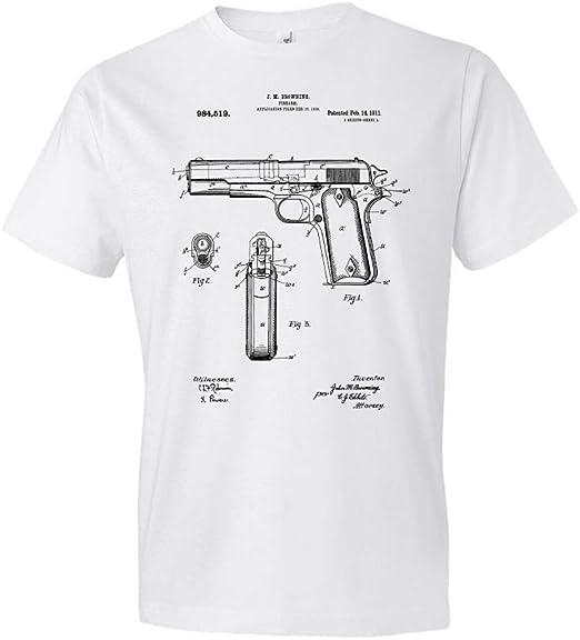 Colt M1911 Handgun Blueprint Patent  Pistol Le Pistolet T-Shirt