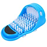 Kissbuty Magic Feet Cleaner Simple Foot Scrubber Feet Shower Spa Easy Feet Cleaning Brush Exfoliating Foot Massager Slipper for Unisex Adults, 1 Pc (Blue)
