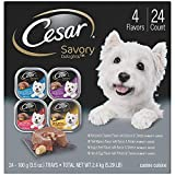 CESAR Soft Wet Dog Food Loaf in Sauce Rotisserie Chicken, Filet Mignon, Angus Beef, and Ham & Egg Flavors Variety Pack, (24) 3.5 oz. Easy Peel Trays