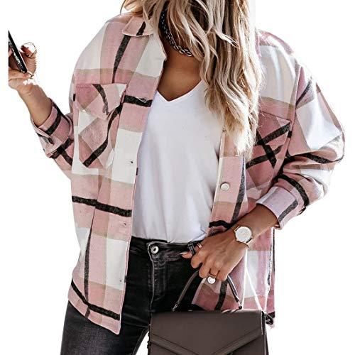 MUYOGRT Giacca a Quadri per Donna Camicia Manica Lunga Transition Cappotto Bluse Casual Camicetta a Quadretti Moda Primavera stile fidanzato con tasche(Rosa,M)