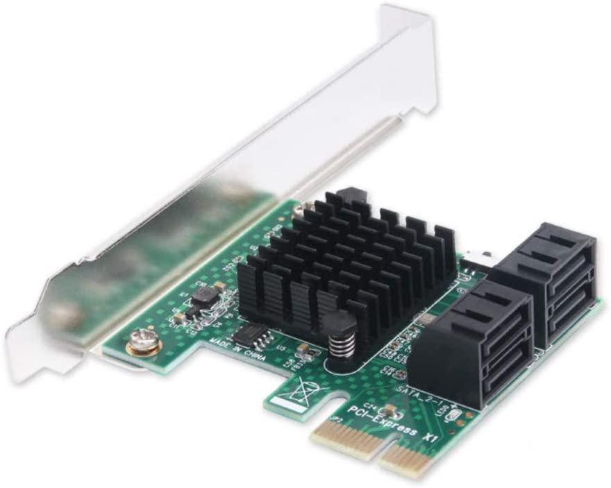 PCIe 2.0 x 1 to SATA III 4 Ports Adapter Card Marvell Chipset Non-Raid for IPFS Mining and Adding SATA 3.0 Devices
