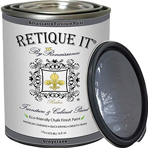 Retique It Chalk Furniture Paint by Renaissance DIY, 32 oz (Quart), 06 Greystone, 32 Ounces