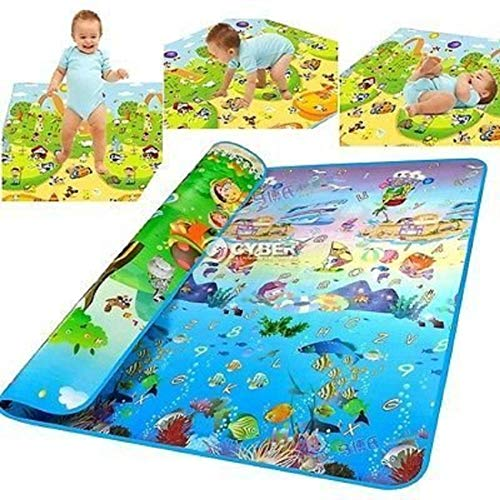 Skylofts Waterproof Double Side Baby Play Crawl Floor Mat for Kids Picnic School Home (Large Size -6 X 4 ft, Multicolour) with Zip Bag to Carry