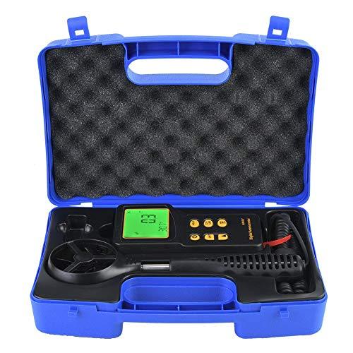 Windmesser, Digitaler Windmesser 0,3-45 m/s Windgeschwindigkeits-Temperatur-Luftstrom-Tester, 2-in-1-Windgeschwindigkeits- und Temperaturmessung, Datenhaltung, LCD-Hintergrundbeleuchtung