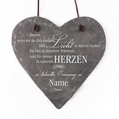 private grief Gedenkherz aus Schiefer mit Gravur des Namens und Lebensdaten