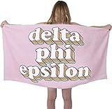 Sorority Shop DPE Beach Towel - Delta Phi Epsilon Retro Sorority Towel for Beach, Bath and Pool - Trendy, Multipurpose, Extra Large, Lightweight, Cotton Towel for Gifts