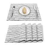 Manteles Individuales Pared De Ladrillo Rústico Vintage Blanco Decoración Lavable del Mantel Individual Resistente A Las Manchas para La Mesa De Comedor De La Cocina