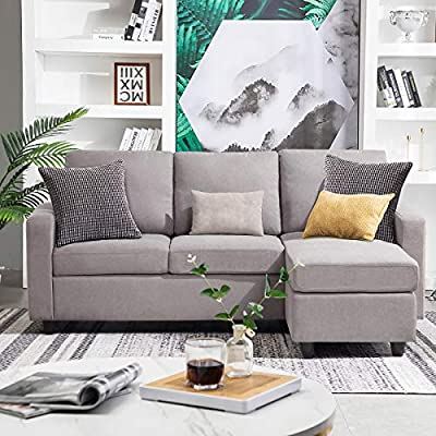 HONBAY Convertible Sectional Sofa Couch Modern Linen Fabric L-Shape Couch for Small Space Grey