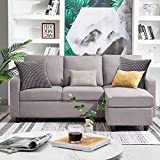 HONBAY Convertible Sectional Sofa Couch Modern Linen Fabric L-Shape Couch for Small Space Grey (Gainsboro)