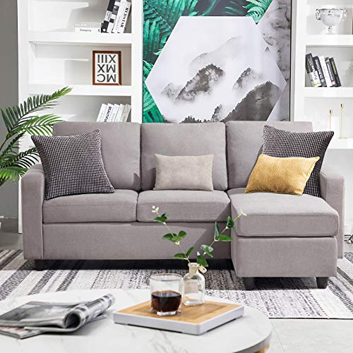 HONBAY Convertible Sectional Sofa Couch for Small Apartment, L Shaped Sofa Couch with Linen Fabric and Reversible Chaise Grey (Gainsboro)