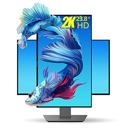 YAOJP 2K Monitor Gaming 23,8 Pulgadas, Rotación De Elevación Monitor para Juegos 2560×1440 QHD 105% Srgb IPS Luz Azul Baja Monitor PC...