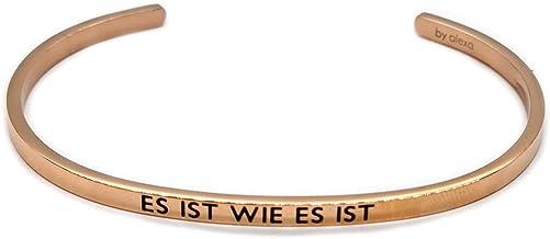 Elegante armband armband zilver of roségoud met mantra en spreuk - gravure in 2 maten. Het is zoals het is