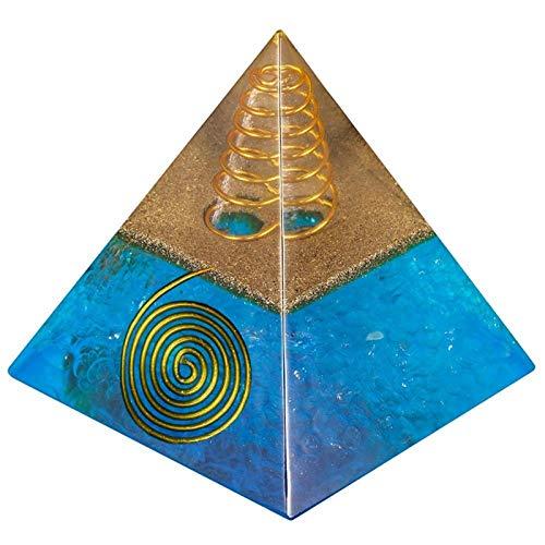 ZTTT Kristallgolddrahtpyramide Steinfigur Blaue Farbe (Color : Stone Pyramid)