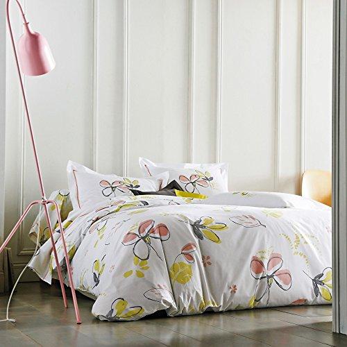 Blanc Des Vosges Perkal 57 Fd./cm² Luxus Bettwäsche Lola Genet (Bettbezug 135/200 + Kissenbezug 1x80/80). Farbe: Weiß/Bunt