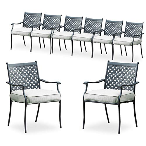 PatioFestival 8 Piece Patio Dining Chairs Metal Outdoor Chairs Wrought Iron Patio Furniture,Dinning Chairs Set with Arms and Seat Cushions (Grey)