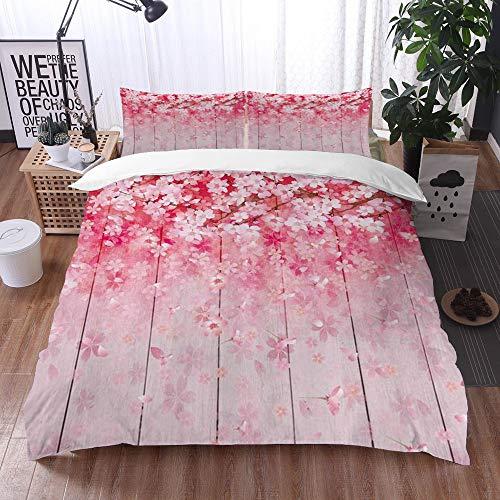 Qinniii Bedsure Funda Nórdica,Flor Japonesa Temporada de Primavera Sakura Bloom Flores de Cerezo en tablón de Madera,Fundas Edredón 200 x 200 cmcon 1 Funda de Almohada 40x75cm