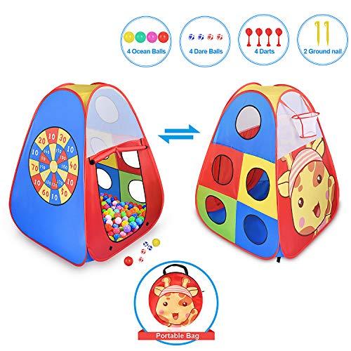 STLOVe Spielzelt Kinderzelt, Pop-up Babyzelt Spielplatz Drinnen und draußen Kinder Zelt mit Basketballtor, Dartscheibe, Aufbewahrungstasche (Ohne Ball)