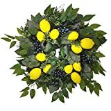 MyHappyFamily 26 Inch Artificial Faux Lemon Wreath with Green Leaves and Blueberry Spring Summer Front Door Wreath