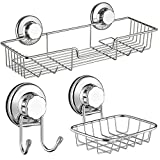 SANNO Bath Shower Caddy/Soap Dish/Double Bath Hook-Bath Organizer Kitchen Storage Basket for Shampoo, Conditioner, Soap- Anti Rust stainless steel (3 pack)