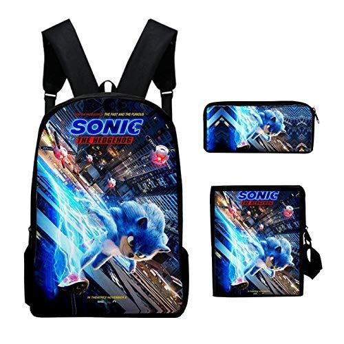 Sonic School Bag 3D Backpack Sonic the Hedgehog School Bag Fashionable 3-piece Suit Backpack Backpack 3D Digital Printing Backpack